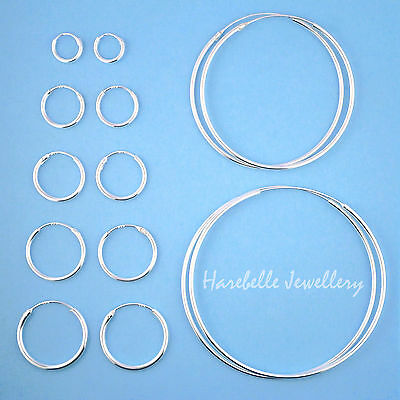 925 Sterling Silver Hoop Sleeper Earrings 8mm - 50mm,  Small - Large