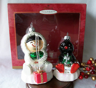 Hallmark Ornament Crown Reflections 2000 Frosty Friends Blown Glass Set Of 2
