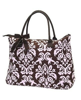 Personalized Brown-Pink Quilted Damask Print Large Travel Gym Sports Tote Bag...