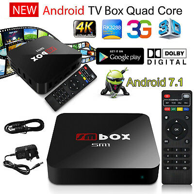 Smart Android 6.0 TV Box Quad Core 2.4Ghz 4K 3D Media Player 1080P Movie 2017 UK