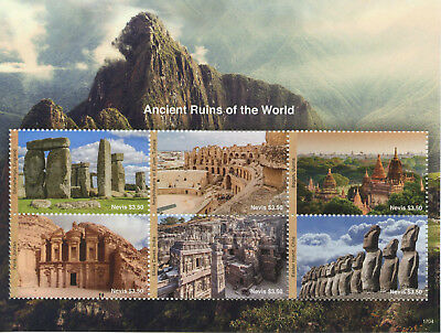 Nevis 2017 MNH Ancient Ruins of World Stonehenge Ellora Caves 6v M/S Stamps
