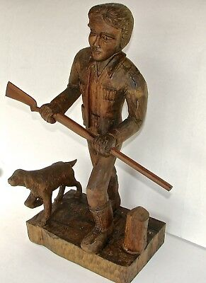 "Hunter and Dog Wooden Carving - 22"" tall - by Russell Beckwith - signed"