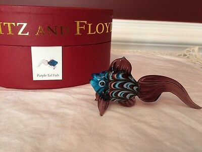 Fitz and Floyd Glass Menagerie Purple Tail Fish with box