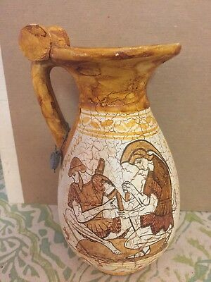 Ancient Greek Wine Jug Replica of 500 BC Period Handmade Pottery W/ Metal Tag