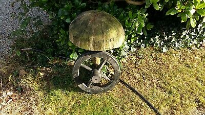 Very Old Antique Vintage Wooden Wheelbarrow Wheel CompletWith Spindle