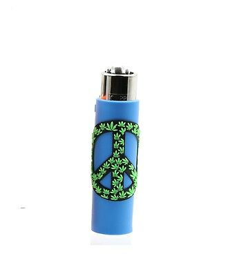 1x Clipper Peace Leaves Refillable Full Size Lighter With Rubber Cover Blue