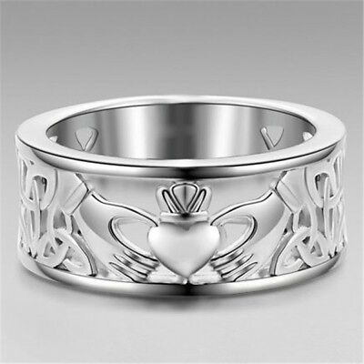 Trendy Band Ring 925 Silver Jewelry Women Men Cladding Forever Love Size 6-10