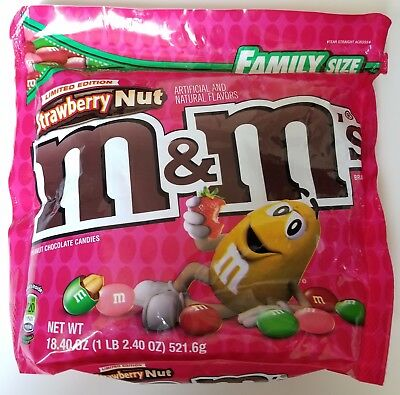NEW Sealed Strawberry Nut M&M's Family Size 18.40 oz Bag FREE WORLDWIDE SHIPPING
