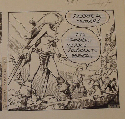"Axa Comic Strip Original Art Aug 11 1981 ""Death to The Traitor""  Number 939"