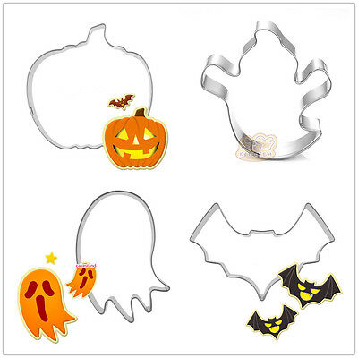 4 Pcs Packed Halloween Items Stainless Steel Cookie Dessert Cake Cutter Mold
