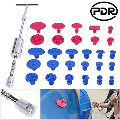 PDR 29pc Paintless Dent Repair Removal Silver Slide Hammer T bar Puller Tabs Set
