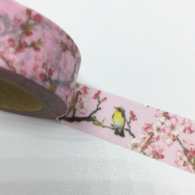 Washi Tape Little Birds & Sakura 15Mm X 10Mtr Planner Craft Wrap Scrap Mail Art