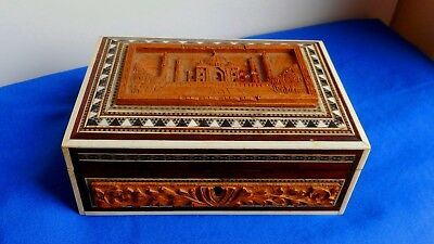 Beautiful Vintage Indian Carved Wooden Box Inlaid Mother Of Pearl, Bone & Ebony