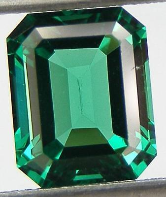 3 CARATS EXCELLENT CUT ASSCHER 10x8 MM. LAB CREATED NANOCRYSTAL EMERALD