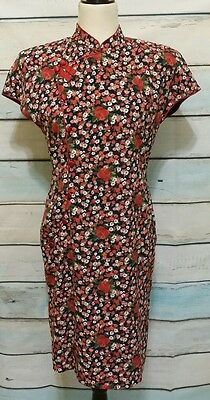 Oriental Asian Be Be design ethnic Dress Red roses Navy blue Floral Size 9 Lined