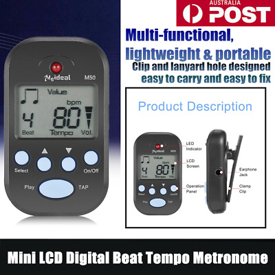 Multifunction Clip-On Lightweight&Portable Mini LCD Digital Beat Tempo Metronome