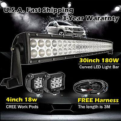 """30 inch LED Light Bar Curved + 2x 4"""" CREE Led Pods Truck Off road Ford Jeep 32"""