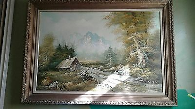 Large Beautiful Antique Original Landscape Oil Painting Signed By Curtis