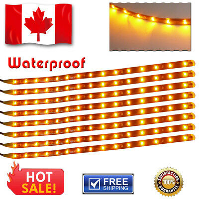 "8X 3000K Amber Yellow 12"" 15-LED Car Motor/Home Flexible Strip Lights Waterproof"
