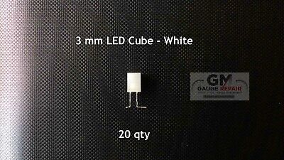 20 qty 3mm White Cube LED Lights S Scale Buildings No Resistor Needed 6v to 12v