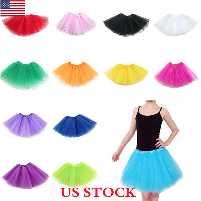 US Adult Women Tulle Fancy Ballet Dress Petticoat Dance Neon Tutu Skirts 3 Layer