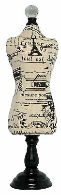 Jewelery Display Fabric Covered Mannequin, Natural Linen, Black Paris Theme Prin