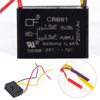 Black CBB61 1.5uF + 2.5uF 3 Wires AC 250V 50 / 60Hz Capacitor For Ceiling Fan