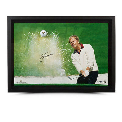Jack Nicklaus Autographed Sand Trap Breaking Through Framed Display - Upper Deck