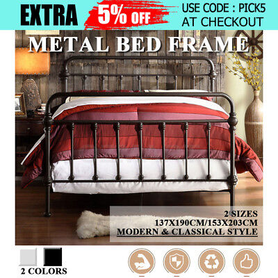 Thick Monaco Modern Metal Bed Frame Bedroom Furniture Double Queen Strong Iron