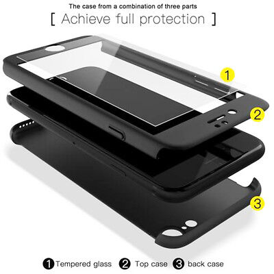 For iPhone 5S SE 7s Plus Hybrid Case 360 Full Protection Temper Flass Film Cover