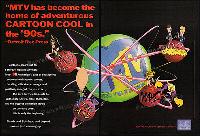 MTV Animation__Vintage 1995 Trade Print AD_poster__AEON FLUX__THE HEAD__THE MAXX