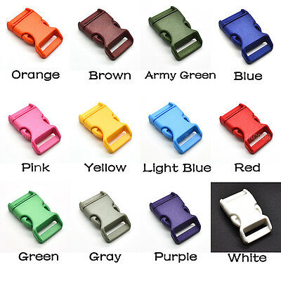 """3/4""""Colors Side Release Contoured Curve Buckle for Paracord Backpack Straps"""