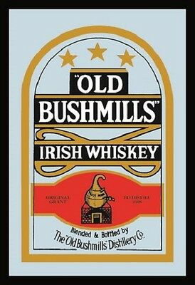 Old Bushmills Irish Whiskey Nostalgia Bar Mirror 8 11/16x12 5/8in