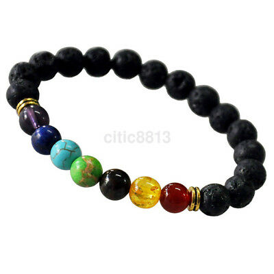 7 Chakra Healing Balance Beaded Bracelet Lava Yoga Reiki Prayer Gemstone New CA