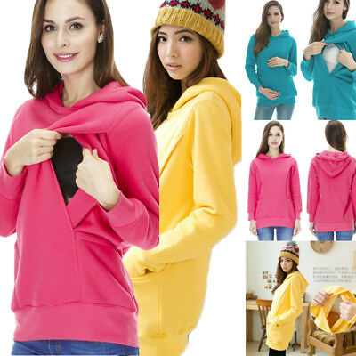 2in1 Maternity Nursing Top Hoodie Breastfeeding Cloths Pregnant Woman Size 6-18