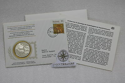 BOTSWANA STERLING SILVER MEDAL 20 Gr. 39mm INTERNATIONAL POSTMASTER COVER A63 CG