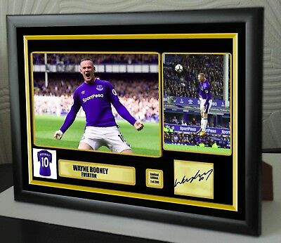 "Wayne Rooney 2017 Everton Framed Canvas Print Signed ""Great Gift or Souvenir"""