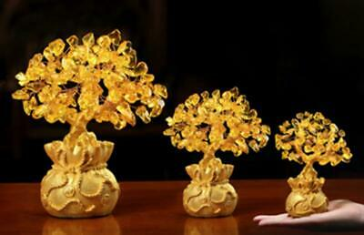 Crystal Lucky  Money Tree Feng Shui Wealth Luck Home Office Decor Ornament