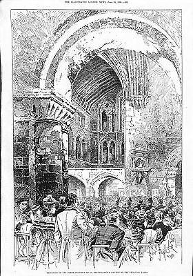 St.Bartholemew's Church.Reopening.Prince of Wales.London.1893.ILN.Antique.Old