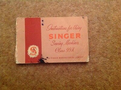 Vintage Singer 99K reverse classic hand crank sewing machine Instructions