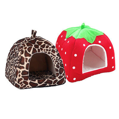 NEW Pet Cat House Dog Bed Strawberry Cave Dog House Cute Kennel Nest Dog Cat Bed