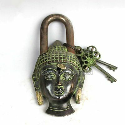 Chinese Old Style Brass Vintage Buddhism Kwan-Yin Copper Locks + 2pcs keys