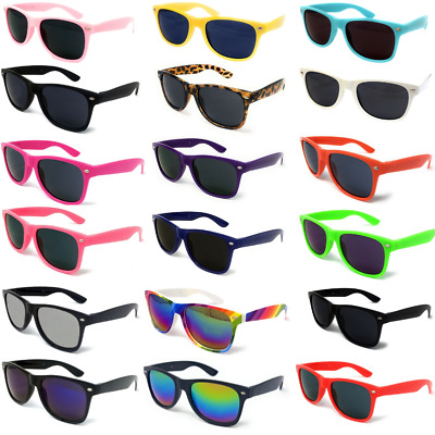 Classic Black Lens Sunglasses Mens Ladies Neon Retro Fashion Shades Glossy