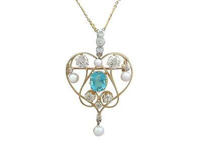 Victorian Diamond and Aquamarine, Pearl and 18k Yellow Gold Pendant / Brooch