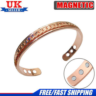 Magnetic Bracelet Ladies Mens Bangle Copper With Diamante Bio Arthritis Cuff