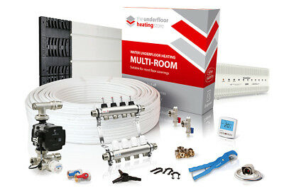 Low profile overlay multiple room water underfloor heating kit - all sizes