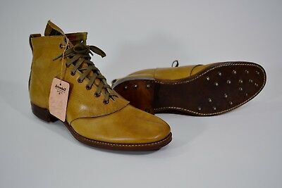 VTG Leather Golf Shoes 1890s-1920s Schmelzer's Kansas City Orig price Tag Size 7