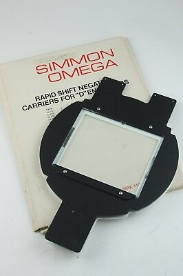 189575 Simmon Omega 4x5 Glass Negative Carrier for D-Series Enlargers Genuine