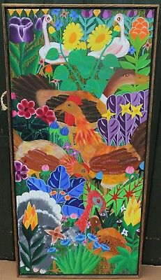 Unusual Framed Bright Childlike Painting On Canvas Of Animals Etc Signed & 77 (2