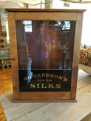 Antique Advertising Cabinet Glass Painted Richardson's Silk Wash Trade Sign